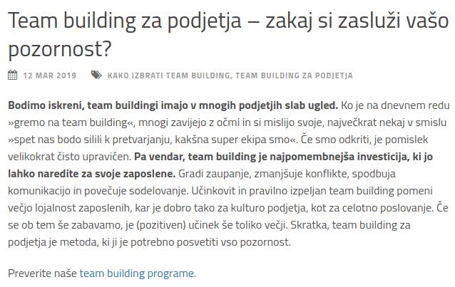team building besedilo